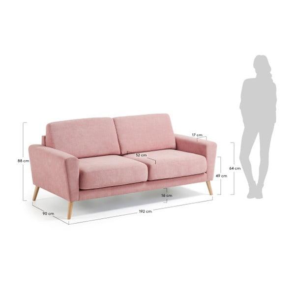 Růžová třímístná pohovka La Forma Guy