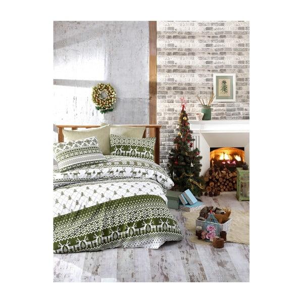 Lenjerie de pat cu cearșaf din bumbac Greene, 200 x 220 cm