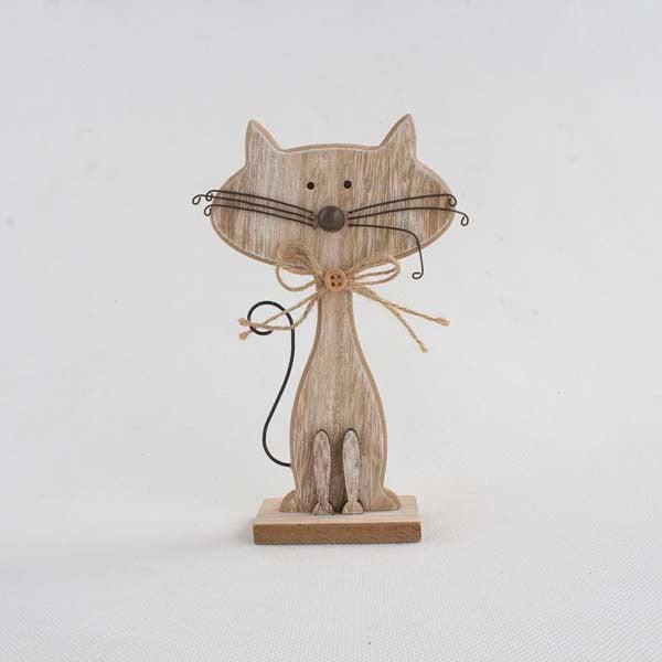 Decorațiune din lemn în formă de pisică Dakls Cats, înălțime 25cm