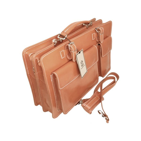 Kožená kabelka/kufřík Cortese, medová