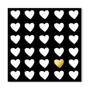 Černý plakát Americanflat Precious Heart, 30 x 30 cm