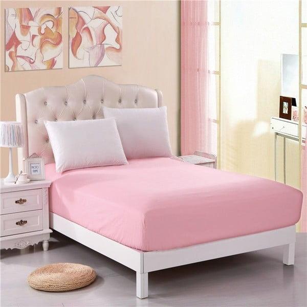 Cearșaf fără elastic Purreo Muneco, 100 x 200 cm, roz
