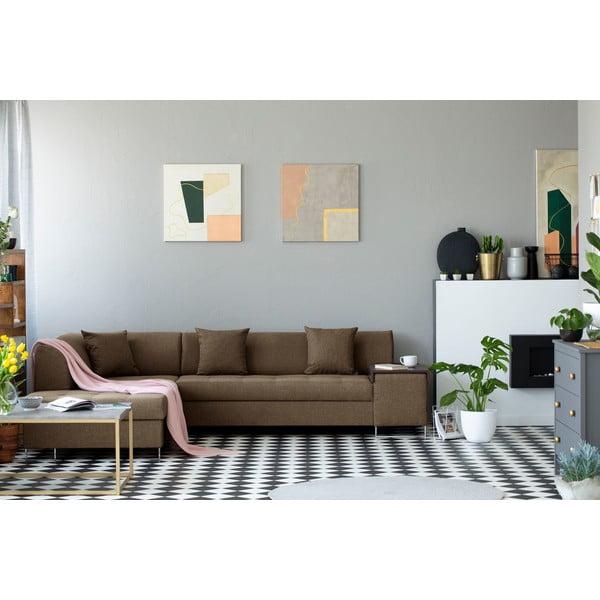 Světle hnědá rohová rozkládací pohovka s nohami ve stříbrné barvě Cosmopolitan Design Orlando, levý roh