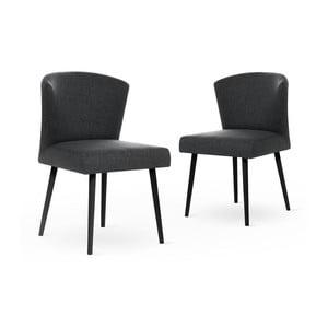 Sada 2 tmavě šedých židlí s černými nohami My Pop Design Richter