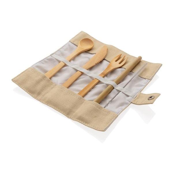Cestovní set bambusových příborů s brčkem, čistícím kartáčkem a obalem XD Collection