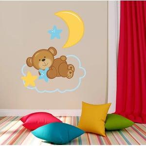 Samolepka na zeď Medvídek a hvězdičky, 70x50 cm