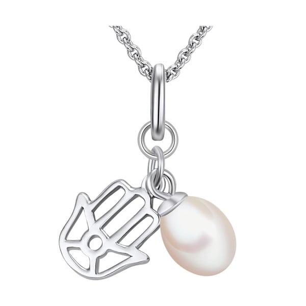 Stříbrný náhrdelník s přívěskem a perlou Chakra Pearls, 70 cm