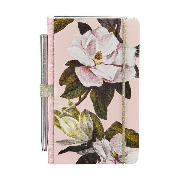 Malý ružový zápisník s perom Ted Baker Arboretum