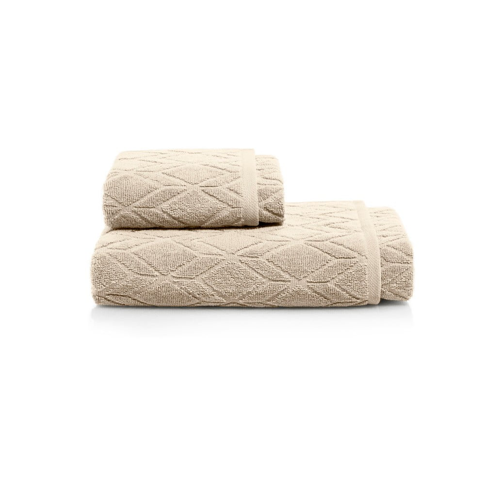 Fotografie Set světle hnědé osušky a ručníky Maison Carezza Venezia