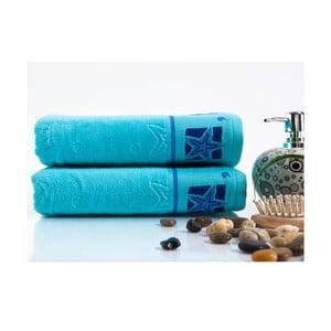 Sada 2 ručníků Shell Turquoise, 50x90 cm