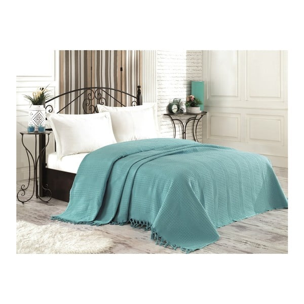 Niebieska narzuta na łóżko z ręcznie wiązanymi frędzlami Pique, 180x240 cm