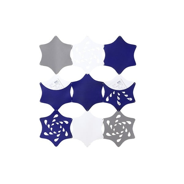 Plstěný závěsný kapsář Květina, modrá/bílá/šedá