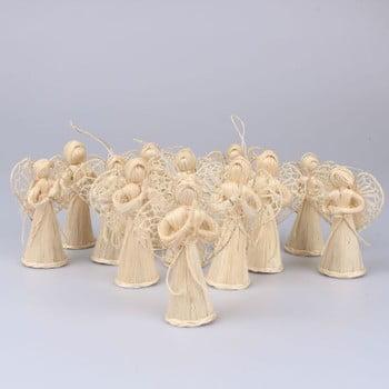 Set 12 decorațiuni din paie pentru Crăciun Dakls Eva, lungime 10 cm, formă înger imagine