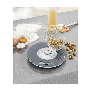 Šedá kuchyňská váha s hodinami Wenko Clock