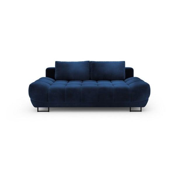 Královsky modrá třímístná rozkládací pohovka se sametovým potahem Windsor & Co Sofas Cirrus
