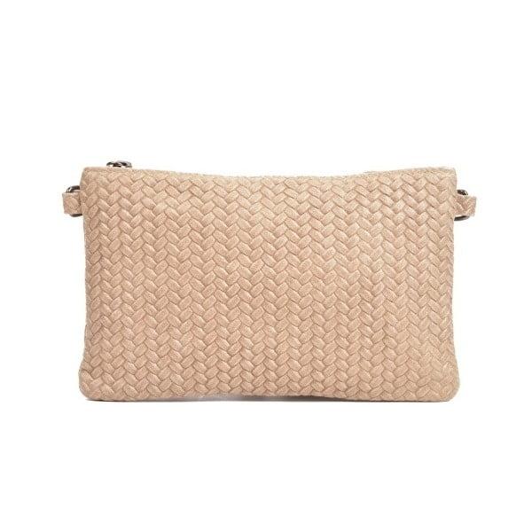 Hnědobéžová kožená kabelka Mangotti Bags Marina