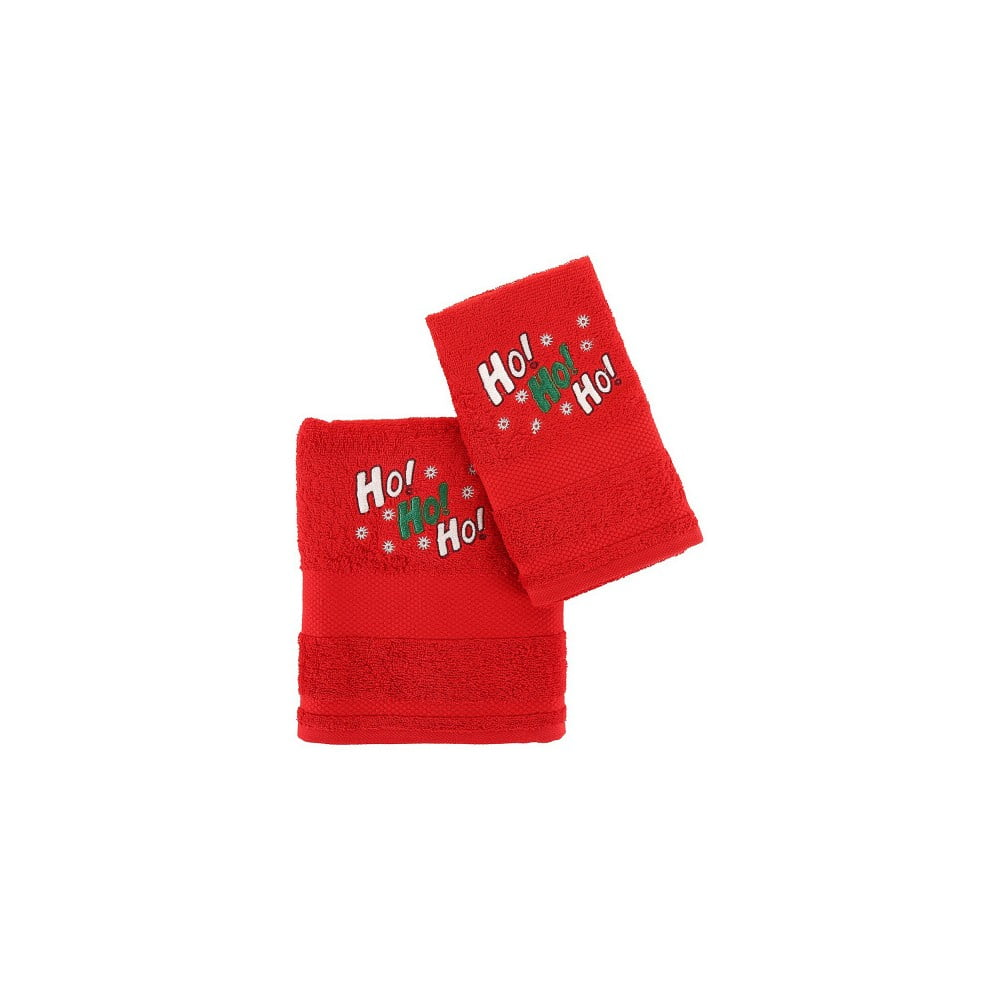 Vánoční sada červeného ručníku a osušky Ho ho