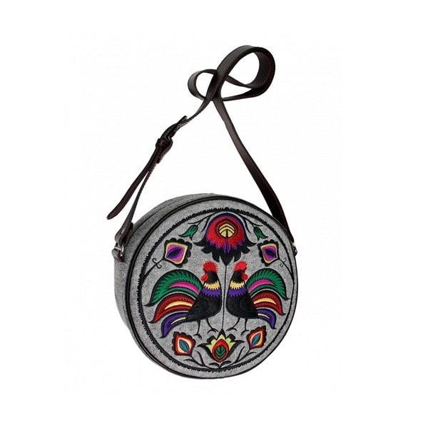Kulatá vyšívaná kabelka Folk Kohoutí, barevná