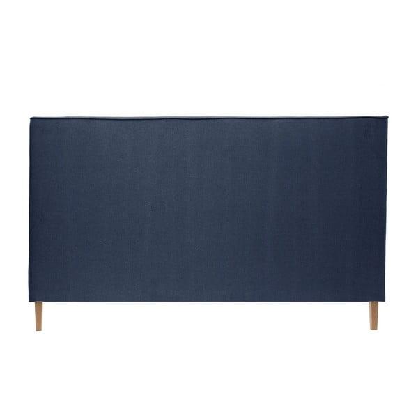 Modrá postel s přírodními nohami Vivonita Kent,180x200cm