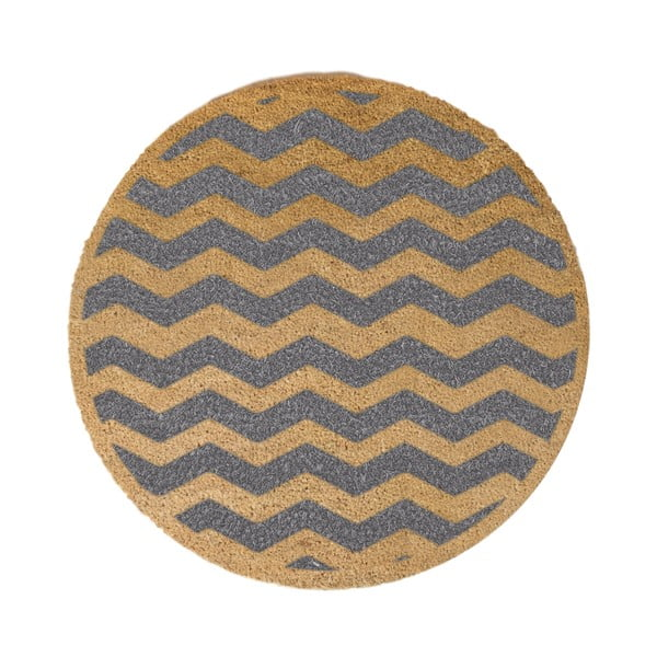 Šedá kulatá rohožka z přírodního kokosového vlákna Artsy Doormats Chevron, ⌀70cm
