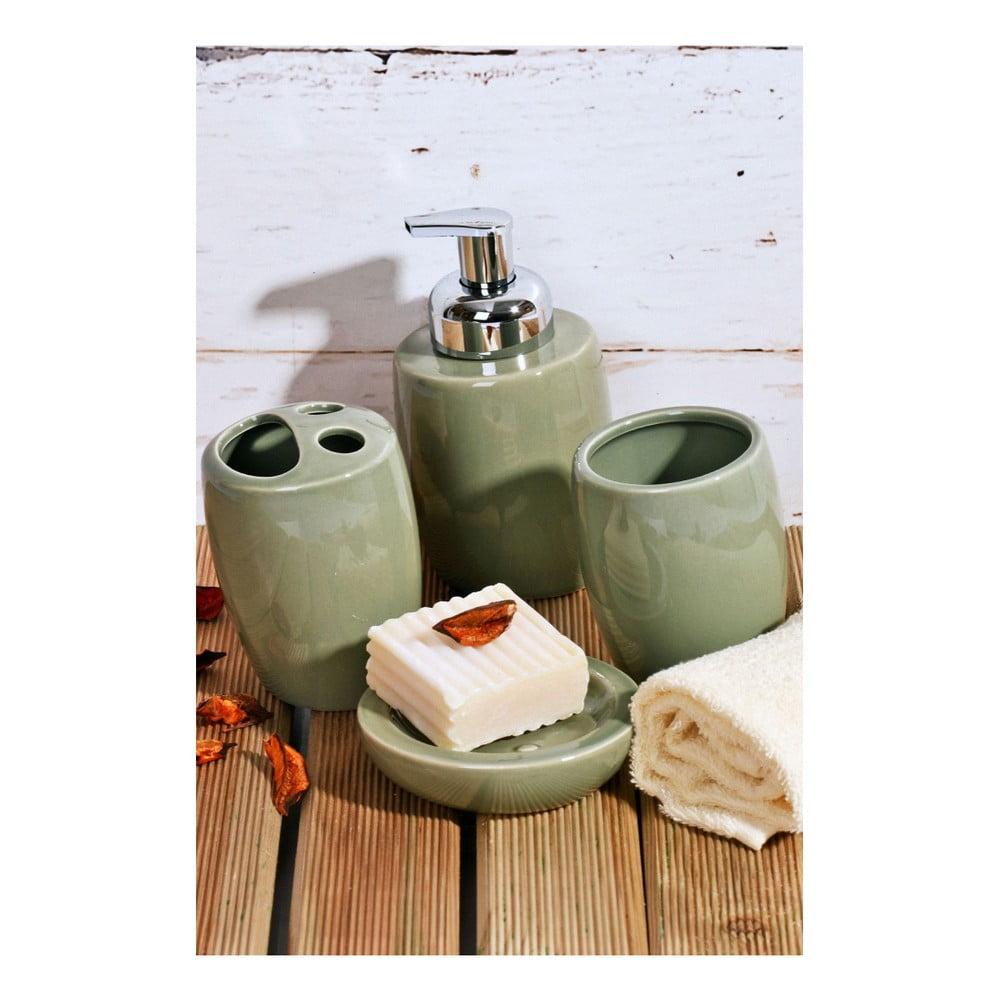 Zelený koupelnový set z keramiky