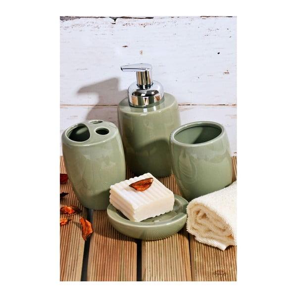 Zielony komplet ceramicznychomplet akcesoriów łazienkowych