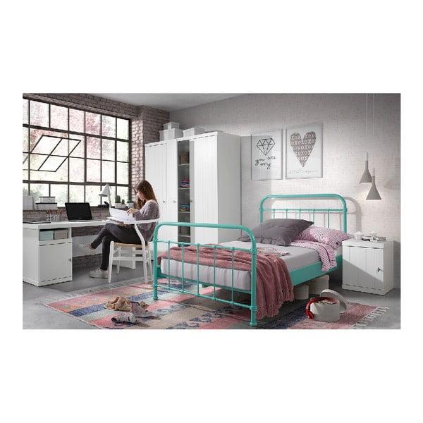 Mátově zelená kovová dětská postel Vipack New York, 120x200cm