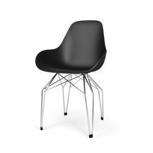 Černá židle s pochromovaným podnožím Kubikoff Diamond