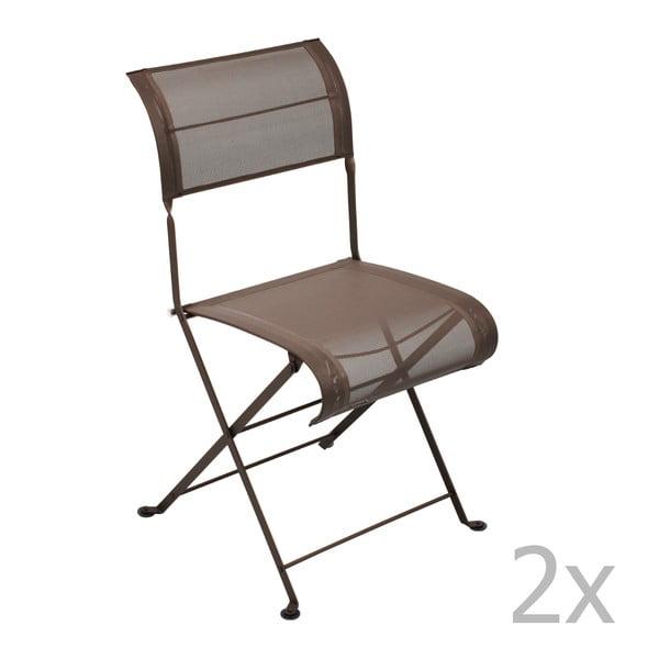 Sada 2 hnědých skládacích židlí Fermob Dune