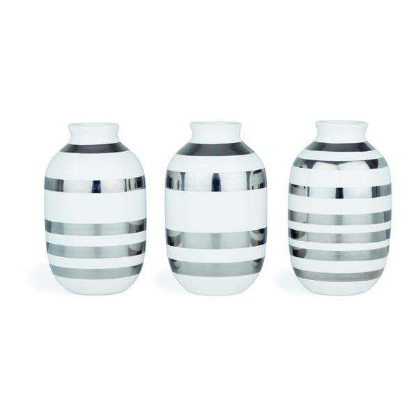 Set 3 Vază din ceramică cu detalii argintii Kähler Design Omaggio, înălțime 8 cm, alb