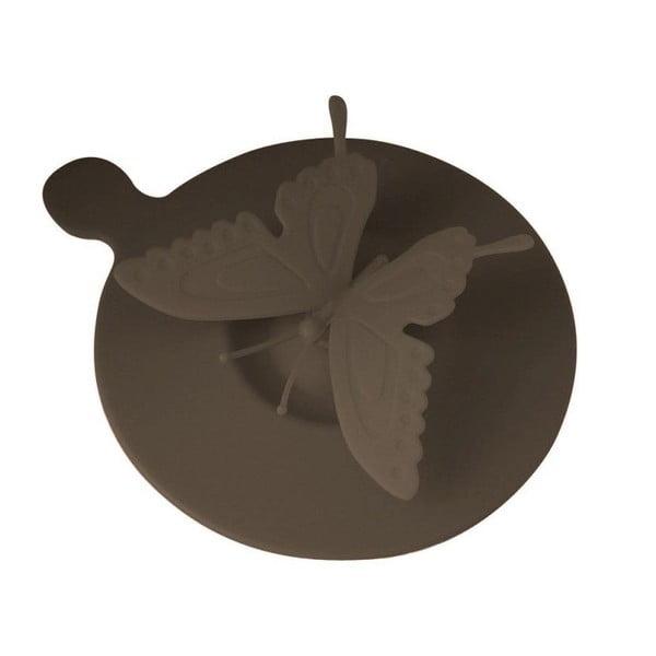 Silikonové víčko na hrnky Butterfly, hnědé
