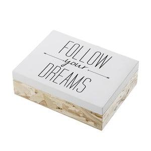 Dřevěný úložný box Unimasa Follow Your Dreams, 20 x 6 cm
