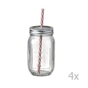 Sada 4 sklenic s brčky Parlane Straw