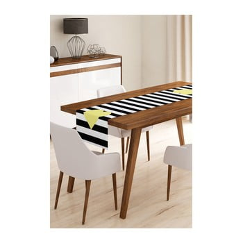 Napron din microfibră pentru masă Minimalist Cushion Covers Stripes with Yellow Heart, 45x145cm de la Minimalist Cushion Covers