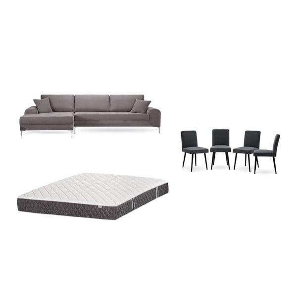 Set canapea maro cu șezut pe partea stângă, 4 scaune gri antracit, o saltea 160 x 200 cm Home Essentials