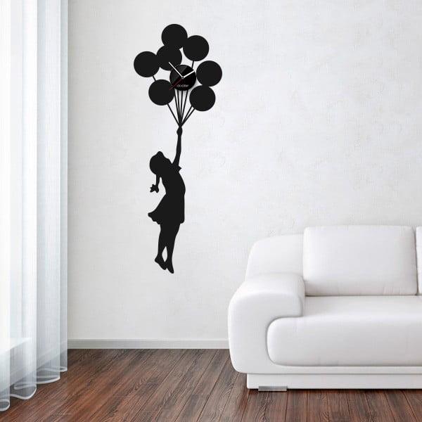 Hodiny se samolepkou Balloon Girl, černá