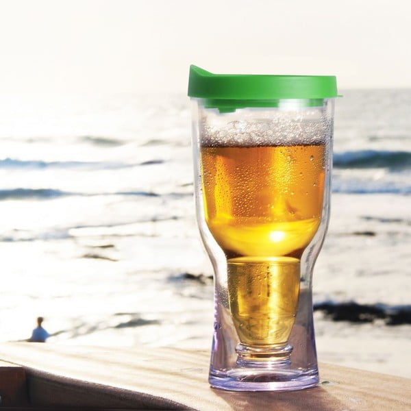 Nezničitelná sklenice na pivo Brew2Go, zelená