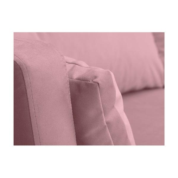 Světle růžová třímístná pohovka Mazzini Sofas Elena, slenoškou na levém rohu