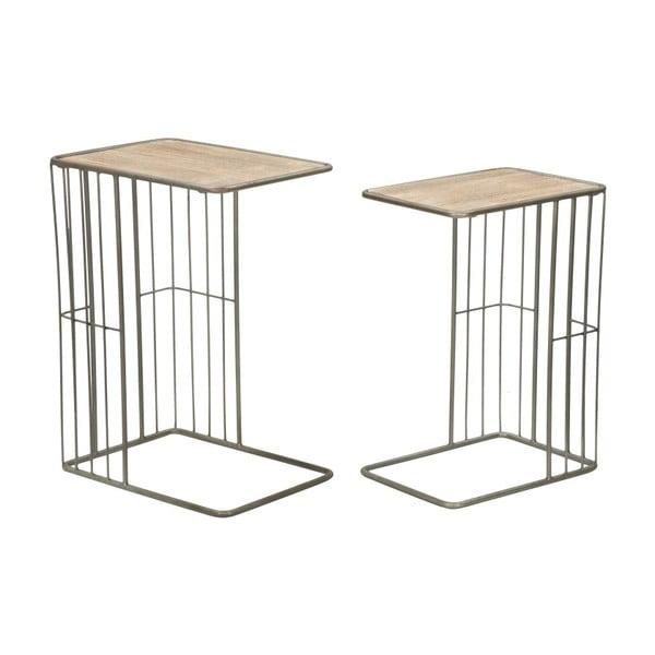 Sada 2 odkládacích stolků z kovu a dřeva Mauro Ferretti Industry