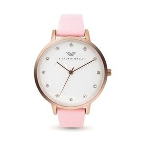 Dámské hodinky s růžovým koženým řemínkem Victoria Walls Dusk