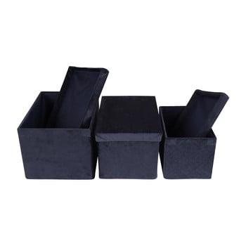 Set 3 cutii depozitare, aspect de catifea House Nordic Monza, albastru de la House Nordic