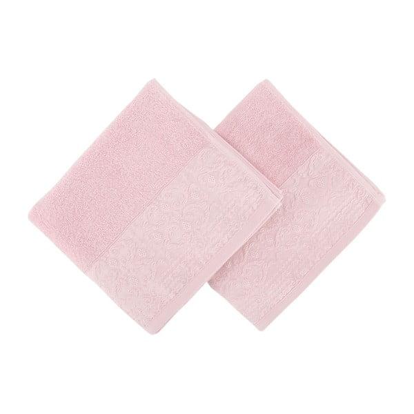 Sada 2 růžových ručníků z čisté bavlny Handy, 50 x 90 cm