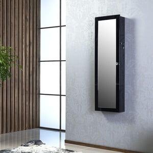 Uzamykatelné závěsné zrcadlo se šperkovnicí Scarlet, černé