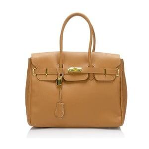 Světle hnědá kožená kabelka Giulia Massari Dollaro