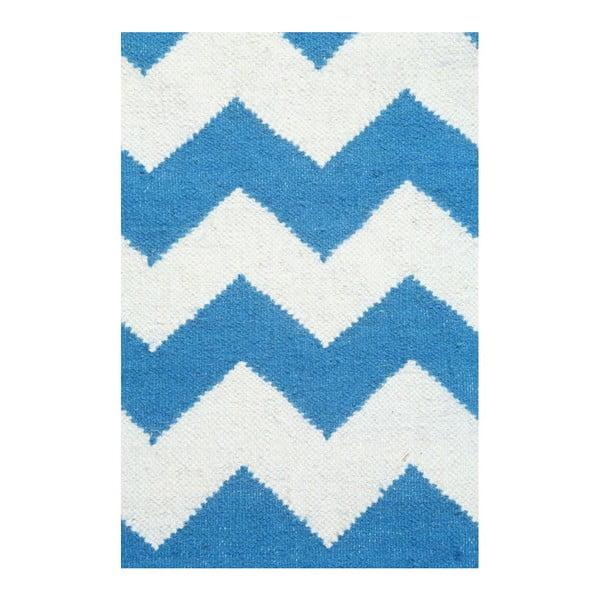 Vlněný koberec Geometry Zic Zac Dark Blue & White, 160x230 cm