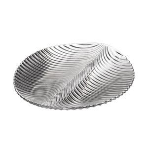 Skleněný talíř ve tvaru listu Unimasa, 28,5 x 26,2 cm