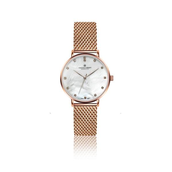 Zegarek damski z paskiem ze stali nierdzewnej w barwie różowego złota Frederic Graff Dolent