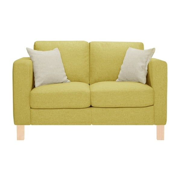 Żółta sofa 2-osobowa z 2 kremowymi poduszkami Stella Cadente Maison Canoa