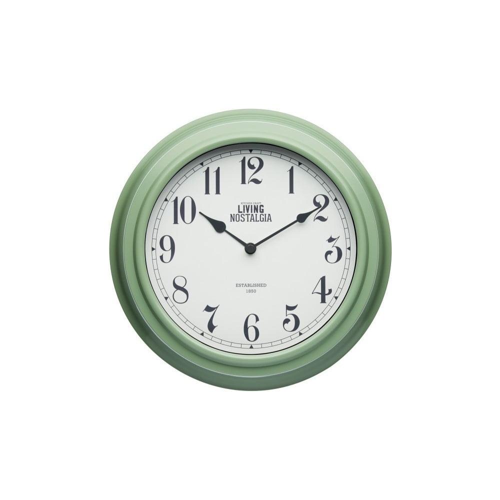 Zelené nástěnné hodiny Kitchen Craft Living Nostalgia, Ø 25,5cm