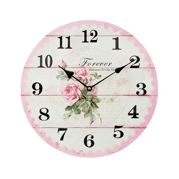 Nástěnné hodiny Roses Pink, 34 cm